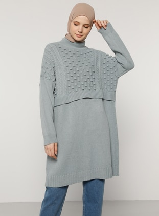 Blue - Crew neck - Unlined - Knit Tunics