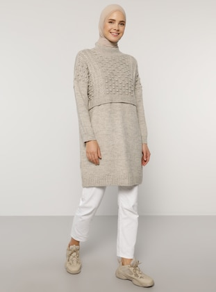 Beige - Crew neck - Unlined - Knit Tunics