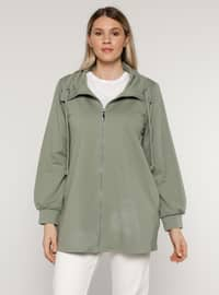 Olive Green - Unlined - Polo neck - - Plus Size Coat