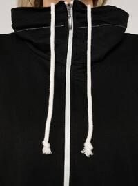 Black - Unlined - Polo neck - - Plus Size Coat