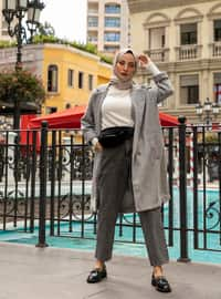 Gray - Unlined - Shawl Collar - Coat