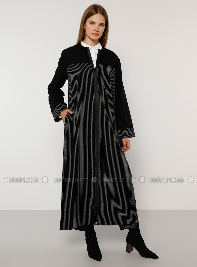 Black - Stripe - Unlined - Crew neck - Plus Size Coat