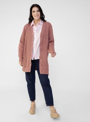 Dusty Rose - V neck Collar - Acrylic - - Plus Size Cardigan - Alia