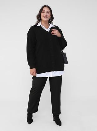 Black - V neck Collar - Acrylic - - Plus Size Cardigan - Alia