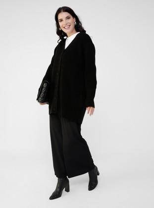 Black - V neck Collar - Acrylic - - Plus Size Cardigan