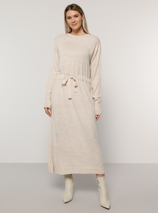 Stone - Acrylic - - Crew neck - Plus Size Knit Dresses