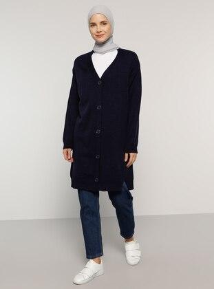 Navy Blue - V neck Collar - Acrylic -  - Cardigan