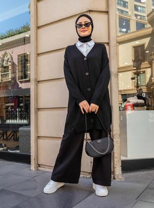 Black - V neck Collar - Acrylic -  - Cardigan