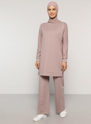 Pink -  - Crew neck - Tracksuit Set