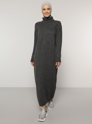 Anthracite - Unlined - Polo neck - Acrylic -  - Knit Dresses