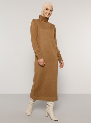 Camel - Olive Green - Unlined - Polo neck - Acrylic -  - Knit Dresses