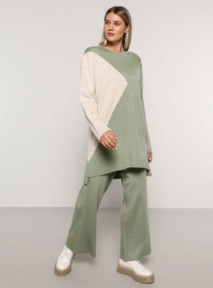 Sea-green - Stone - Crew neck - Unlined - Acrylic -  - Plus Size Suit