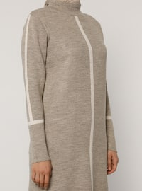 Beige - Crew neck - Unlined - Knit Tunics