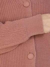 Dusty Rose - V neck Collar - Acrylic - - Plus Size Cardigan