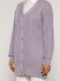 Lilac - V neck Collar - Acrylic -  - Plus Size Cardigan