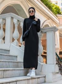 Black - Unlined - Polo neck - Acrylic - - Knit Dresses