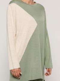 Sea-green - Stone - Crew neck - Unlined - Acrylic -  - Plus Size Suit
