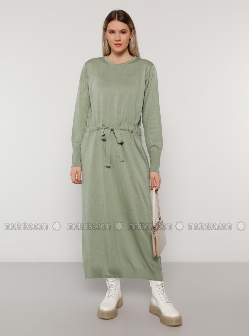 Sea-green - Acrylic - - Crew neck - Plus Size Knit Dresses