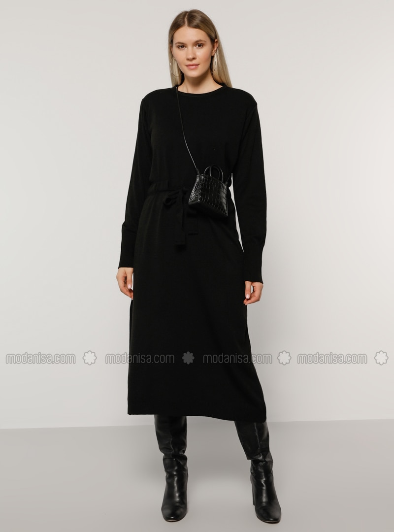 Black - Acrylic - - Crew neck - Plus Size Knit Dresses