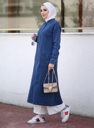 Navy Blue - Unlined - Crew neck - Denim - Topcoat