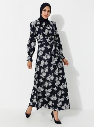 Navy Blue - Floral - Crew neck - Unlined - Dress