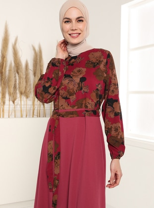 Floral Print Dress - Damson