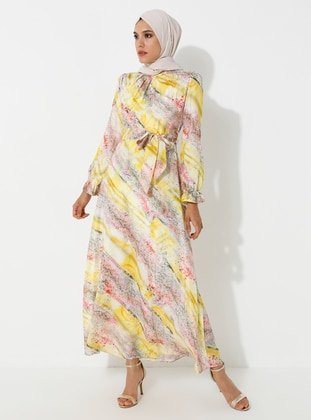 Yellow - Floral - Crew neck - Fully Lined - Dress