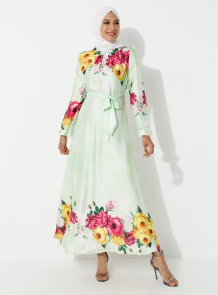 Sea-green - Floral - Crew neck - Fully Lined - Dress