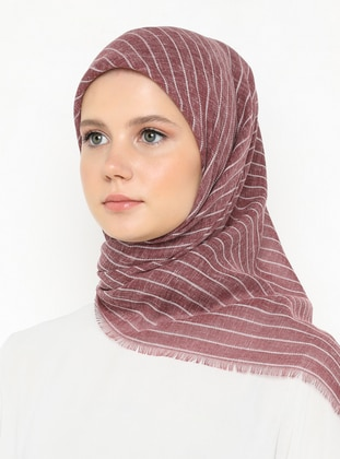 Maroon - Striped - Plain - Scarf