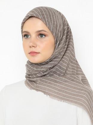 Camel - Striped - Plain - Scarf