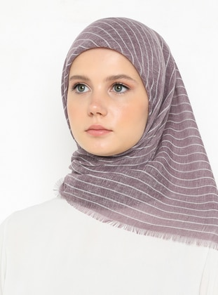 Lilac - Striped - Plain - Scarf