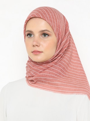 Salmon - Striped - Plain - Scarf