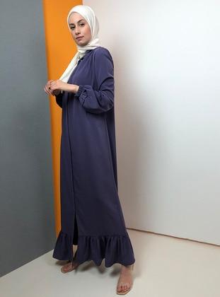 Lilac - Unlined - Crew neck - Abaya
