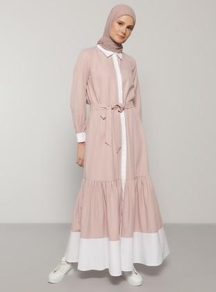 Pink - Point Collar - Unlined -  - Dress - Benin