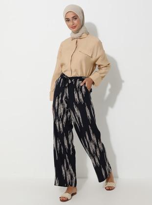 Navy Blue - Stripe - Viscose - Pyjama