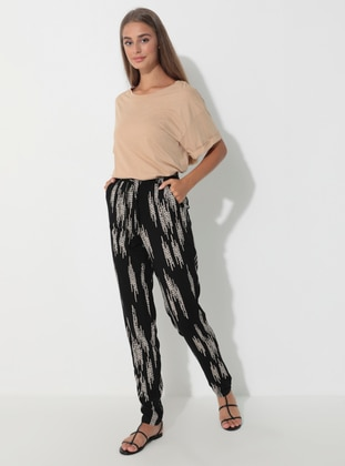 Black - Stripe - Viscose - Pyjama