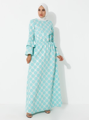 Turquoise - Crew neck - Unlined - Dress