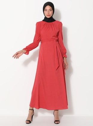 Coral - Polka Dot - Crew neck - Unlined -  - Dress