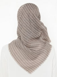 Camel - Striped - Plain - Scarf