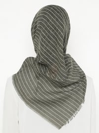 Khaki - Striped - Plain - Scarf