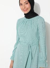 Turquoise - Polka Dot - Crew neck - Unlined - - Dress