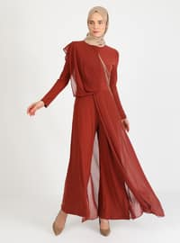 Terra Cotta - Fully Lined - Crew neck - Muslim Evening Dress