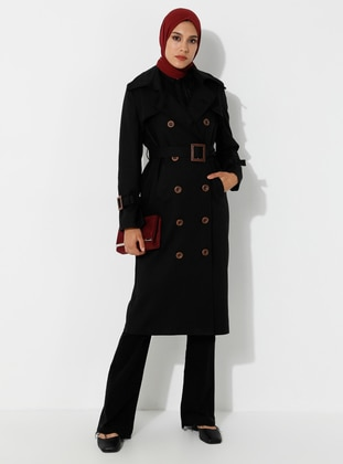 Black - Fully Lined - V neck Collar -  - Trench Coat