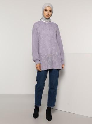 Lilac - Crew neck - Acrylic -  - Jumper