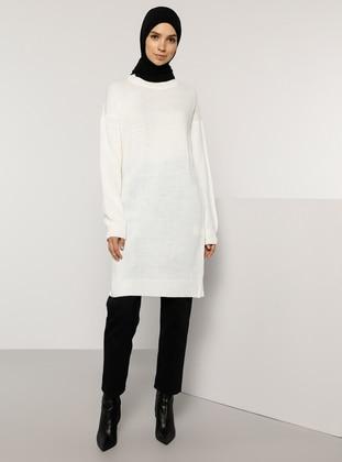Ecru - Crew neck - Unlined - Knit Tunics