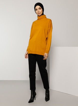 Yellow - Polo neck - Acrylic - - Jumper - Tavin