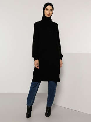 Black - Polo neck - Unlined - Knit Tunics
