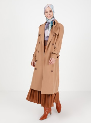 Camel - Fully Lined - V neck Collar -  - Trench Coat - Ziwoman