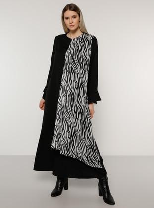 Black - Zebra - Unlined - Crew neck -  - Plus Size Dress
