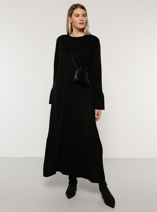 Black - Acrylic - - Crew neck - Plus Size Knit Dresses